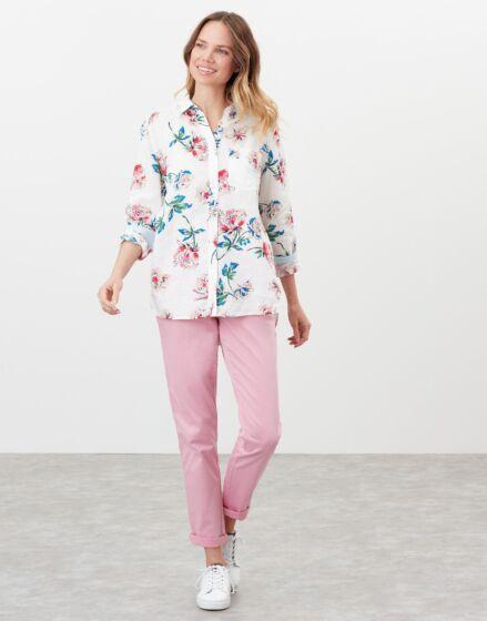 Joules Lorena Linen Shirt Chalk Floral