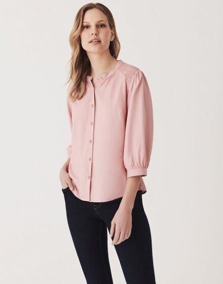 Crew Clothing Smocked Yoke Soft Blouse Pink