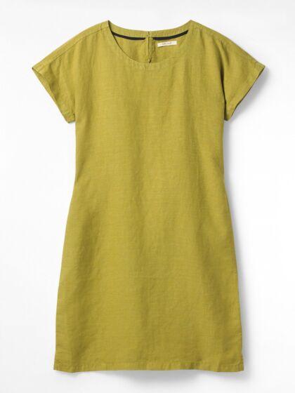 White Stuff Linen Tie Dress Plain Green