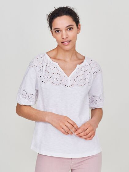 White Stuff Shelly Frill Sleeve Jersey Tee Brilliant white