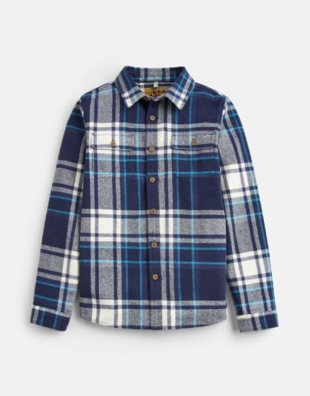 Joules Boys Hamish Cotton Shirt French Navy Overcheck