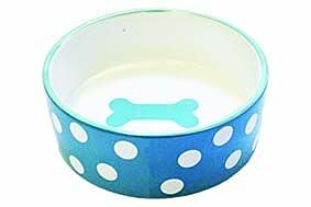 Happy Pet Polka Dot Pet Bowl Blue