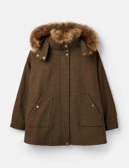 Joules Carolyn Swing Coat Green Tweed