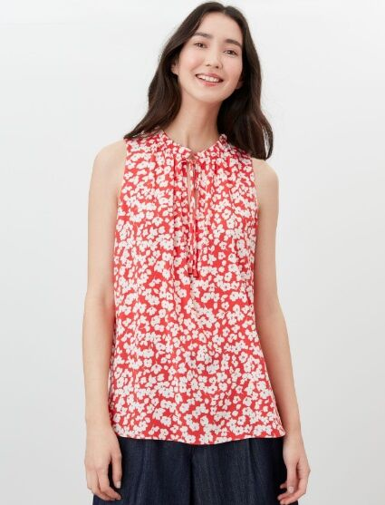 Joules Cierra Pop Over Top Red Floral