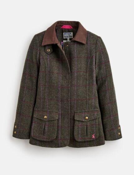 Joules Girls Tweed Fieldcoat Green Check