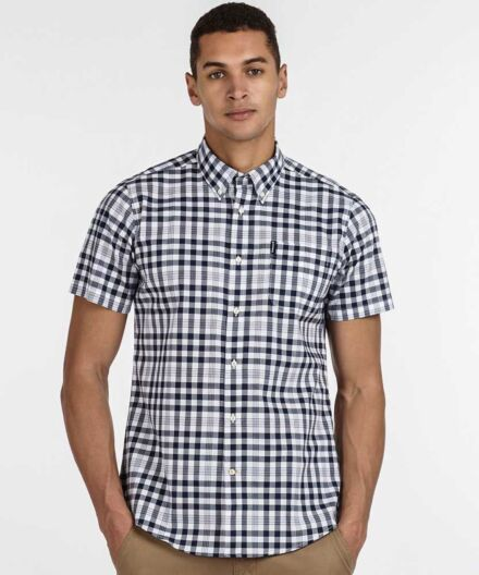 Barbour Gingham 26 Tail Short Sleeve Shirt Navy