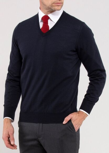 Alan Paine Mens Milbreck Wool V-Neck Jumper Dark Navy