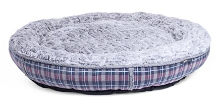 Petface Dove Grey Check Donut Bed Large