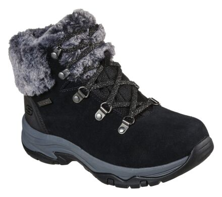 Skechers Trego Lace Up Faux Fur Cuff Boot Black