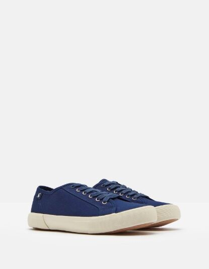 Joules Coast Pump Canvas Lace Up Trainers Navy