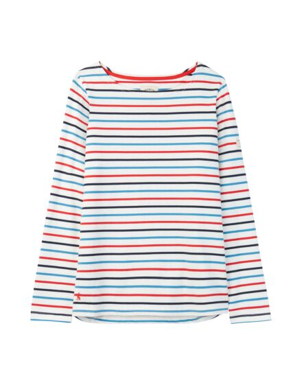 Joules Harbour Long Sleeve Jersey Top Cream Navy Red Blue