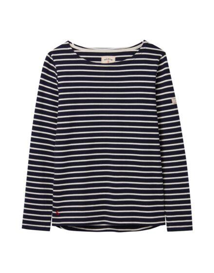 Joules Harbour Long Sleeve Jersey Top Navy Cream Stripe