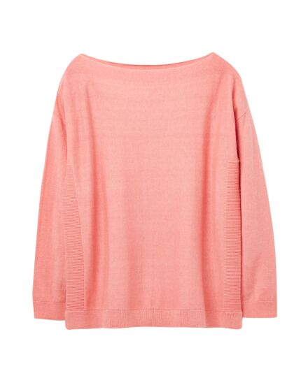 Joules Bess Jumper with Side Seam Rib Pink Marl