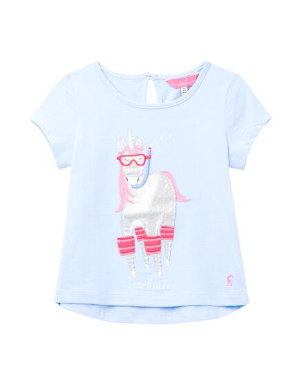 Joules Girls Maggie Applique Top Blue Sea Horse