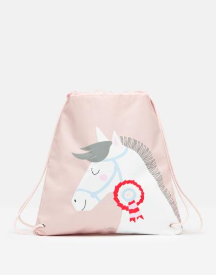 Joules Active Drawstring Bag Pink Horse