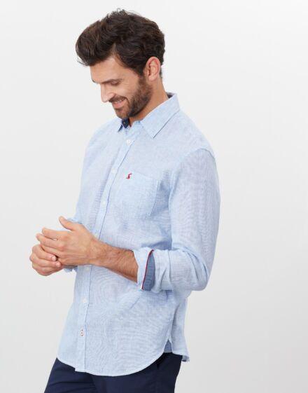 Joules Warwick Print Shirt Blue White Stripe