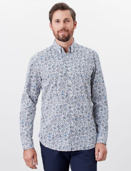 Joules Invitation Long Sleeve Classic Fit Printed Shirt White Floral