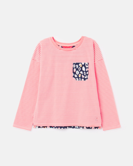 Joules Girls Bliss Jersey Top Bright Pink Stripe