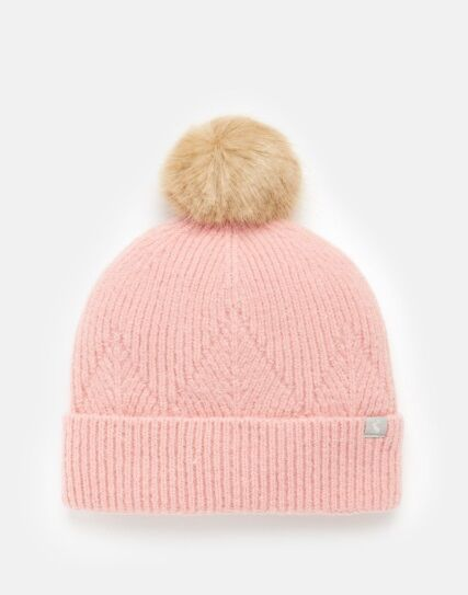 Joules Thurley Knitted Hat Pale Pink