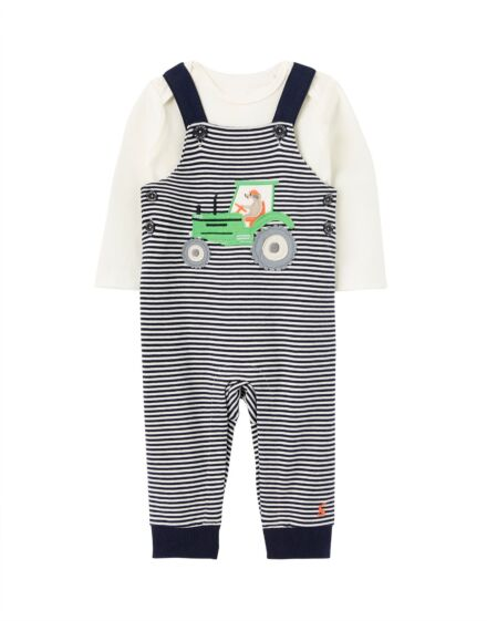 Joules Baby Boys Wilbur Dungarees Set Navy Tractor