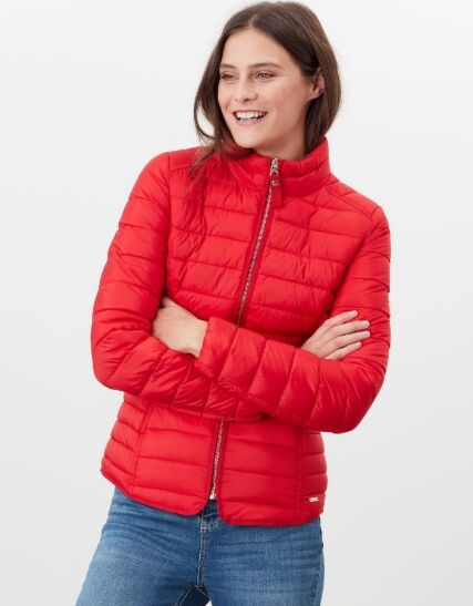 Joules Canterbury Short Luxe Padded Jacket Red