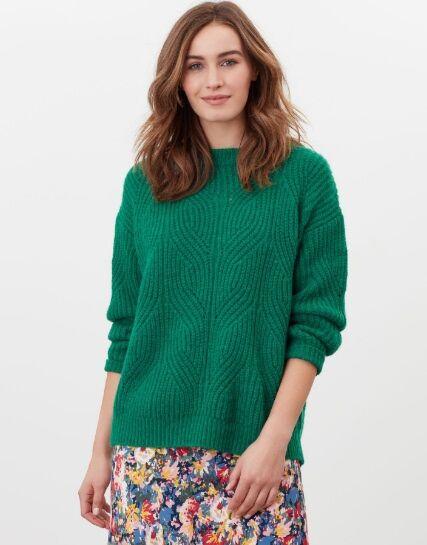 Joules Clover Fluffy Pointelle Jumper Dark Green