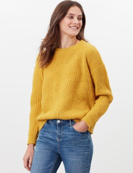 Joules Fluffy Pointelle Jumper Gold