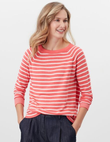 Joules Vicky Jumper Pink Cream Stripe