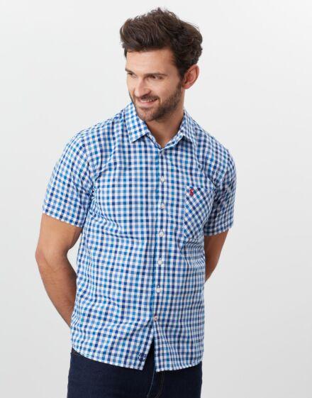Joules Wilson Short Sleeve Shirt Blue Gingham