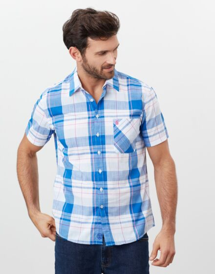 Joules Wilson Short Sleeve Shirt White Check