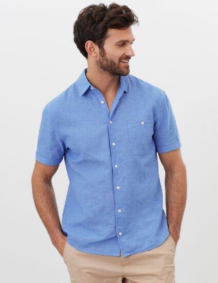 Joules Breaker Relaxed Fit Linen Shirt Blue