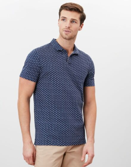 Joules Drift Printed Polo Navy Geo