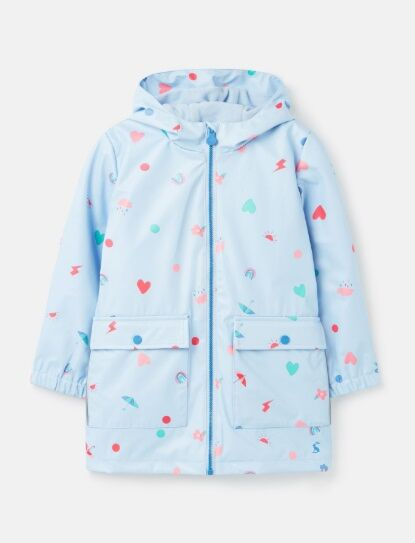 Joules Raindance Showerproof Rubber Raincoat Blue Confetti