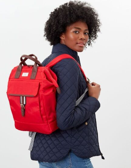 Joules Wells Canvas Rucksack Red
