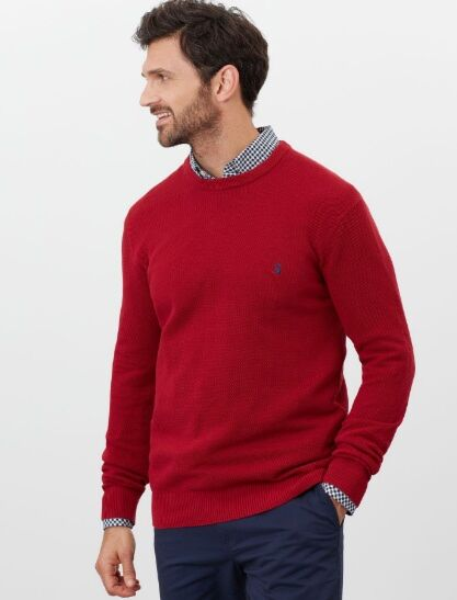 Joules Redmond Crew Neck Waffle Knit Jumper Red