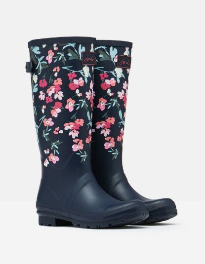 Joules Printed Wellies with Adjustable Back Gusset Navy Florals
