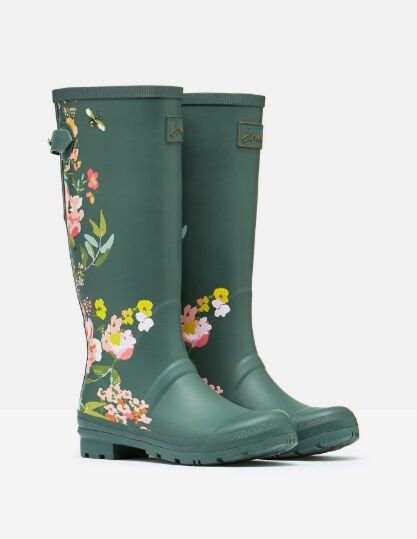 Joules Printed Wellies With Adjustable Back Gusset Green Floral