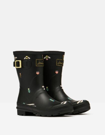 Joules Molly Mid Height Printed Wellies Black Bugs