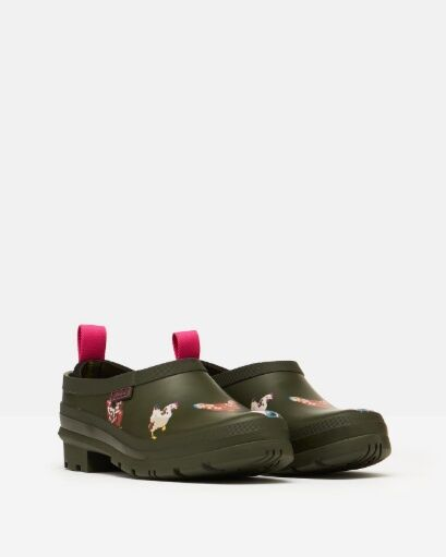Joules Pop On Slip On Welly Clogs Khaki Chicken