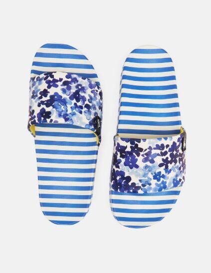 Joules Poolside Printed Sliders Blue Daisy