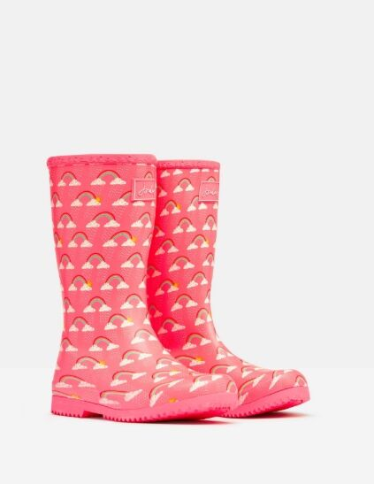 Joules Junior Roll Up Welly Pink Rainclouds