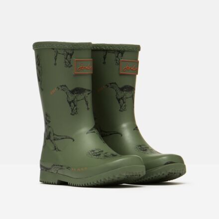 Joules JNR Flexible Printed Roll Up Wellies Green Dino