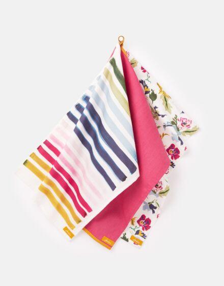 Joules Tea Towel Set 3 Pack Floral & Striped