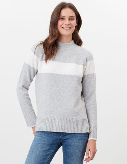 Joules Chanelle Colour Block Mock Neck Jumper Grey Marl