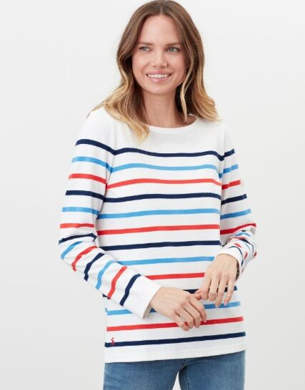 Joules Harbour Long Sleeve Jersey Top Cream Navy Red Blue Stripe
