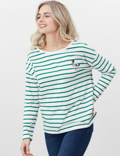 Joules Marina Print Jersey Top Cream Green Stripe Duck
