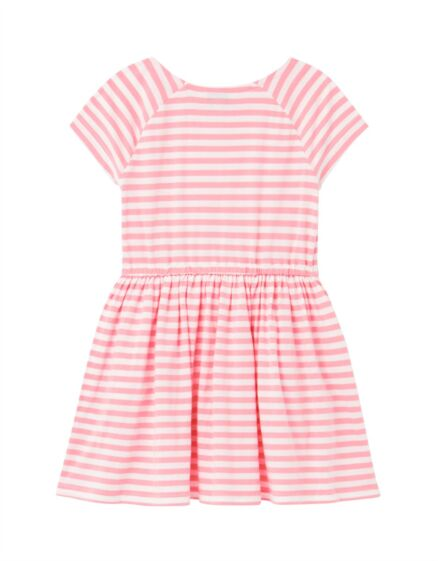 Joules Jude Jersey Dress White Pink Strip