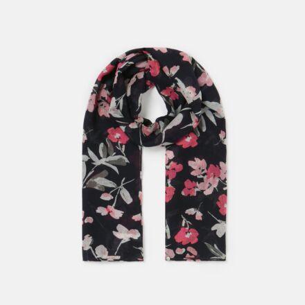 Joules Julianne Wool Scarf Navy Pink Floral