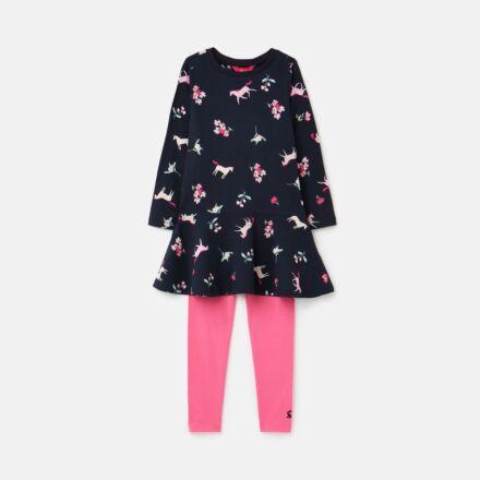Joules Iona Dress & Leggings Set Navy Unicorn Floral