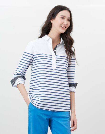Joules Ashbrook Pop Over Deck Shirt White Blue Stripe
